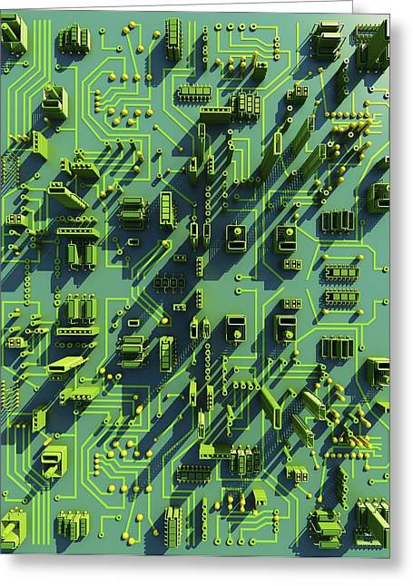 Circuit City, Computer Artwork Greeting Card by Pasieka
