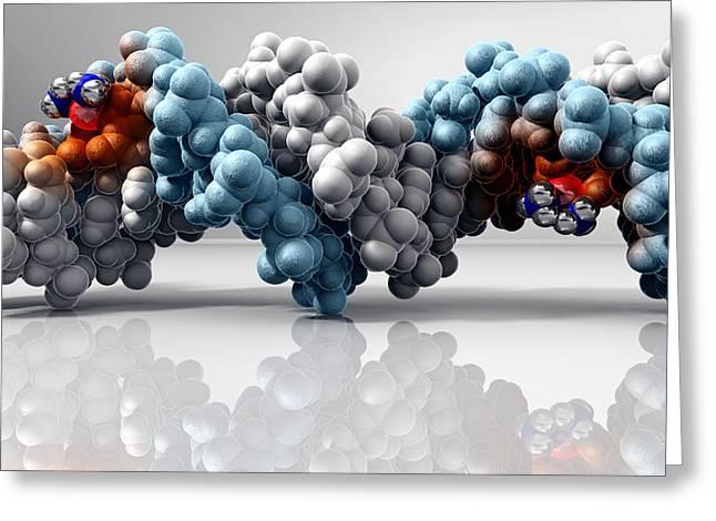 Cisplatin Cancer Drug And Dna Molecule Greeting Card by Phantatomix