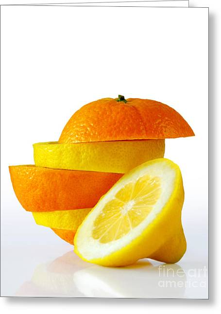 Citrus Slices Greeting Card by Carlos Caetano