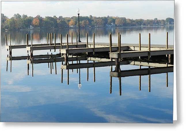City Dock Greeting Card by Dennis Leatherman