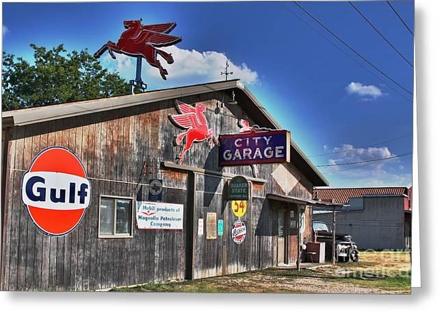 City Garage Greeting Card by Joe Finney