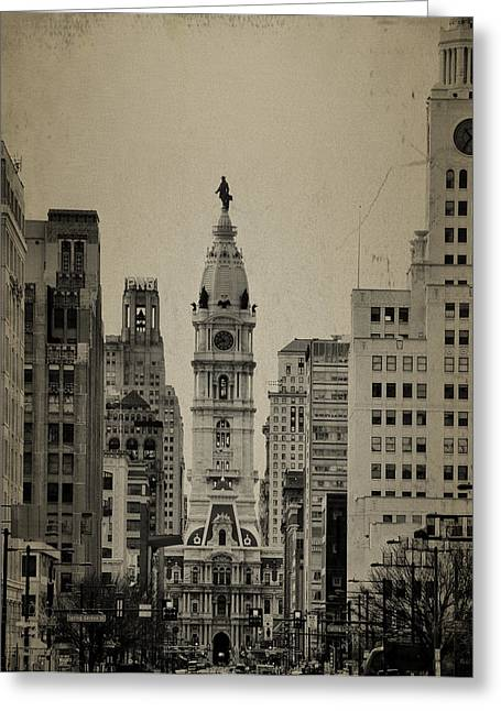 City Hall From North Broad Street Philadelphia Greeting Card by Bill Cannon