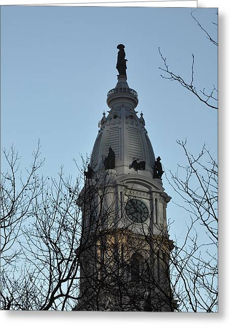 City Hall Tower Philadelphia Greeting Card by Bill Cannon