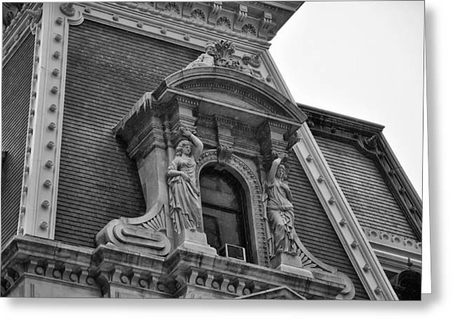 City Hall Window In Black And White Greeting Card by Bill Cannon