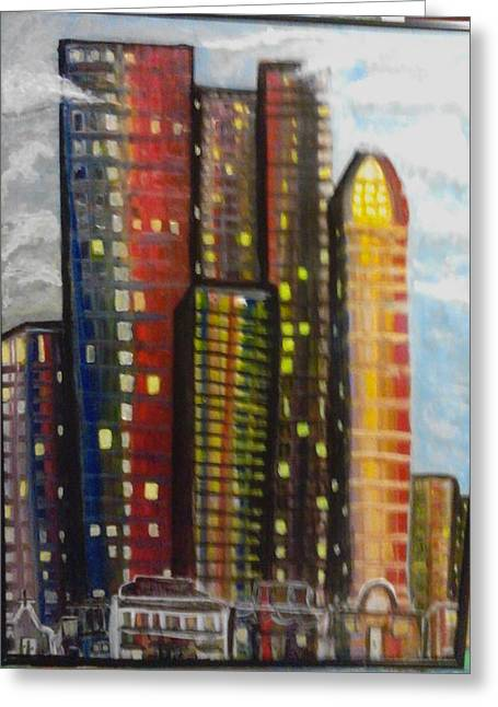 City Lights Greeting Card by Connie Carleton