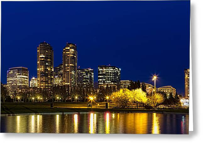 Greeting Card featuring the photograph City Night Lights by Ken Stanback