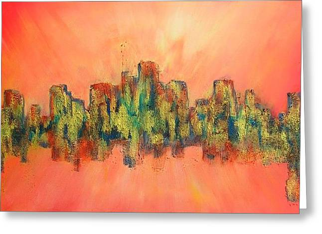 Greeting Card featuring the painting City Of Lights by Mary Kay Holladay