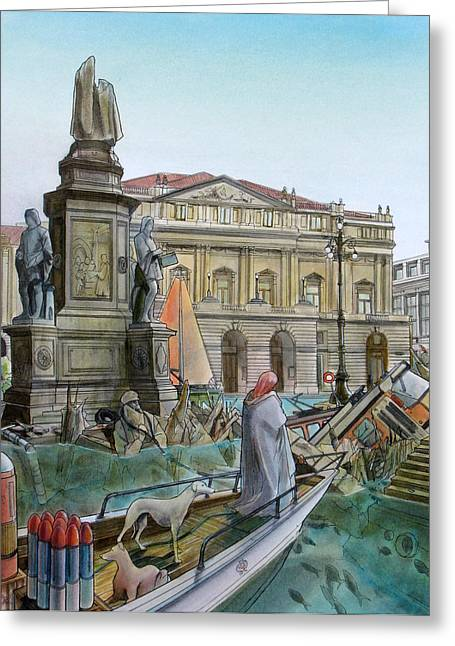 City Of Milan In Italy Under Water Greeting Card