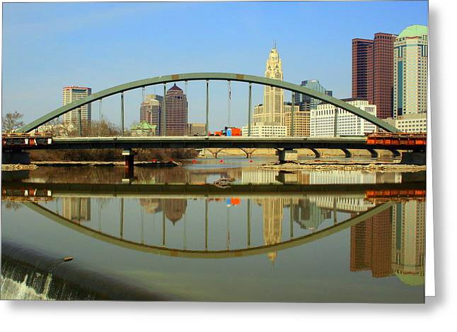City Reflections Through A Bridge Greeting Card