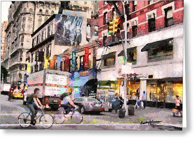 City Street Scene Greeting Card by Anthony Caruso