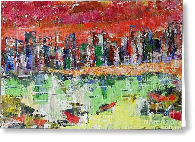 City Sunset Greeting Card by Judith Espinoza