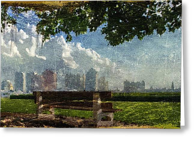 Greeting Card featuring the digital art Citybench by Andrea Barbieri