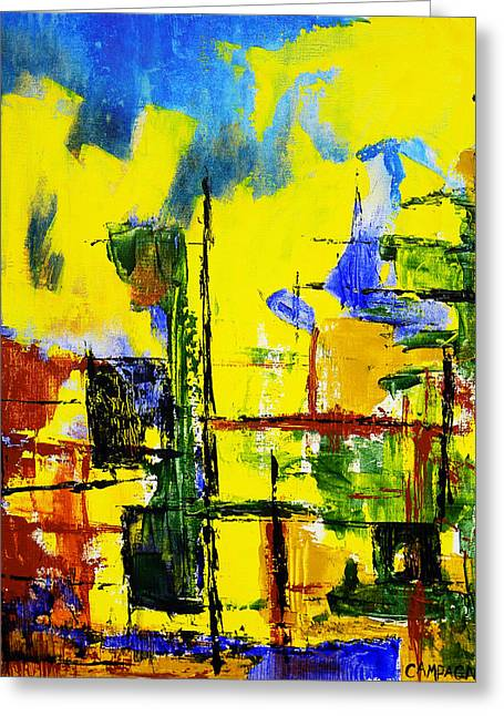 Greeting Card featuring the painting Cityscape by Teddy Campagna