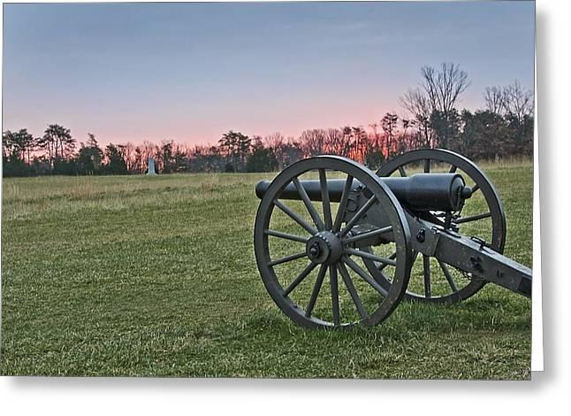 Civil War Cannon At Sunrise - Manassas Battlefield - Virginia Greeting Card by Brendan Reals