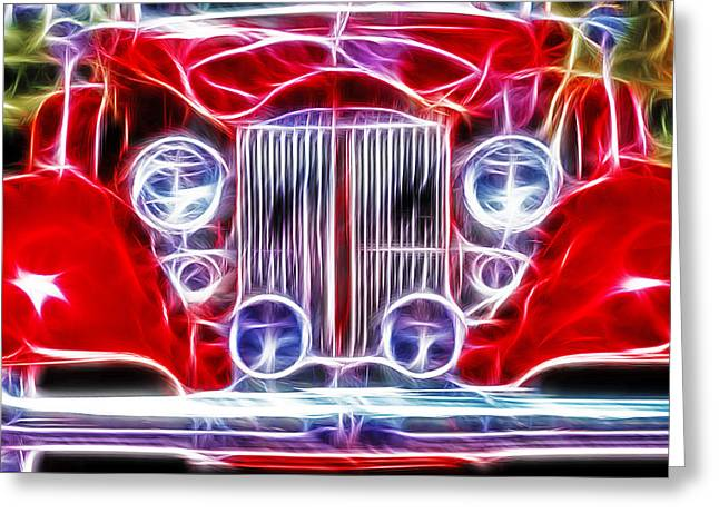 Classic Buick Roadster - Fractal Greeting Card by Steve Ohlsen