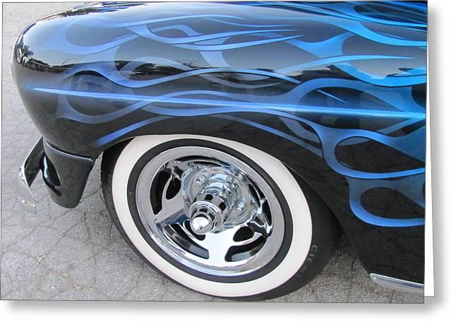 Classic Car Blue Flame 4 Greeting Card by Anita Burgermeister