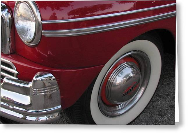 Classic Car Mercury Red 3 Greeting Card by Anita Burgermeister