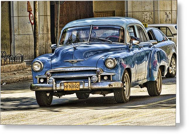 Classic Chevy Blue Greeting Card by J R Baldini M Photog Cr