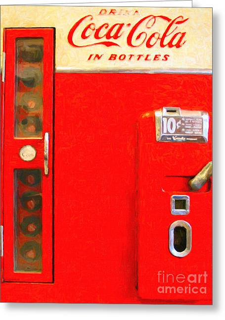 Classic Coke Dispenser Machine . Type 2 Greeting Card by Wingsdomain Art and Photography
