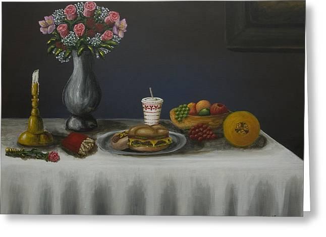 Classico Vita Ancora Con Il Pasto Americano Modern Greeting Card by Kenneth Drylie