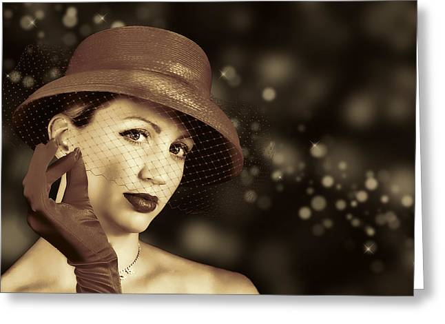 Classy Lady Greeting Card by Trudy Wilkerson