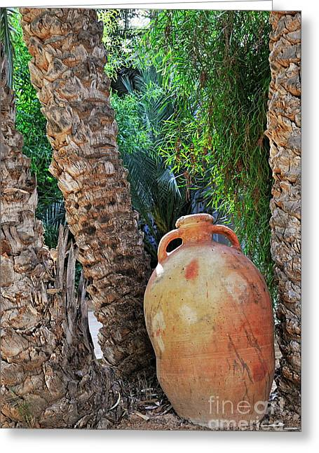 Clay Jar By Palm Tree Greeting Card by Sami Sarkis