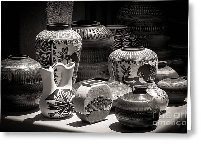 Clay Pots Black And White Greeting Card