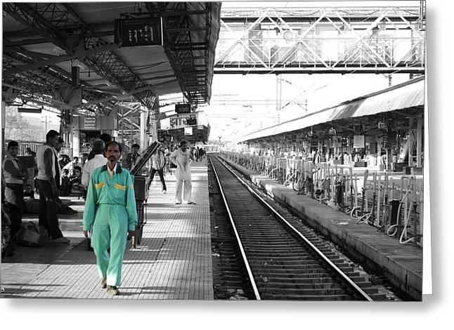 Cleaner At The Train Station Greeting Card by Sumit Mehndiratta