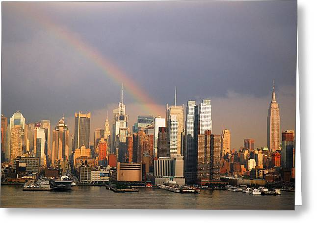 Greeting Card featuring the photograph Clearing Skies Over Manhattan by James Kirkikis