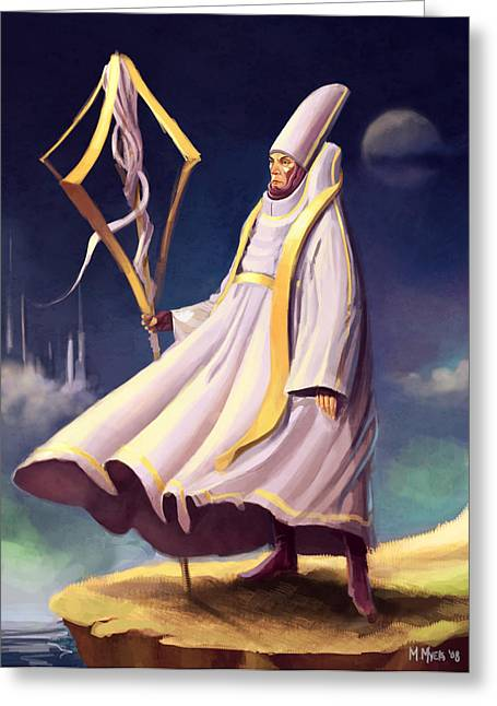 Greeting Card featuring the digital art Cleric by Michael Myers