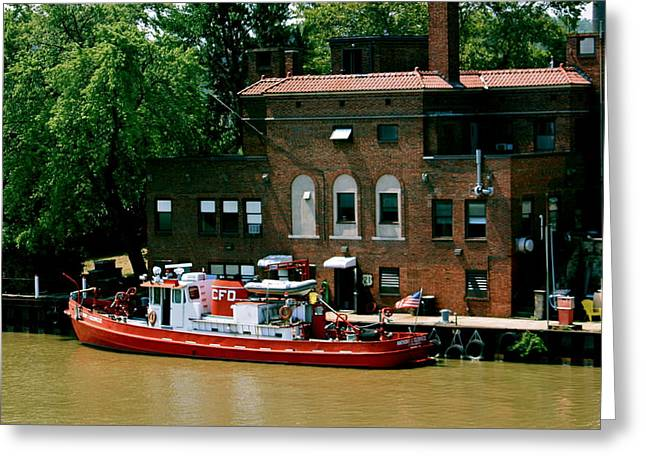 Cleveland Fire Departmentboat Greeting Card by MB Matthews
