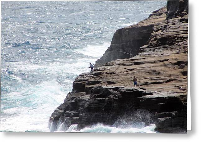 Cliff Fishing Greeting Card by Elizabeth  Doran