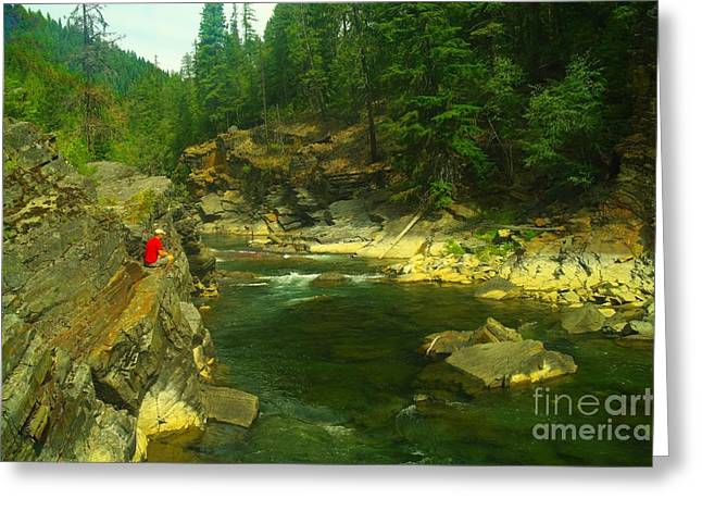 Cliff Over The Yak River Greeting Card by Jeff Swan