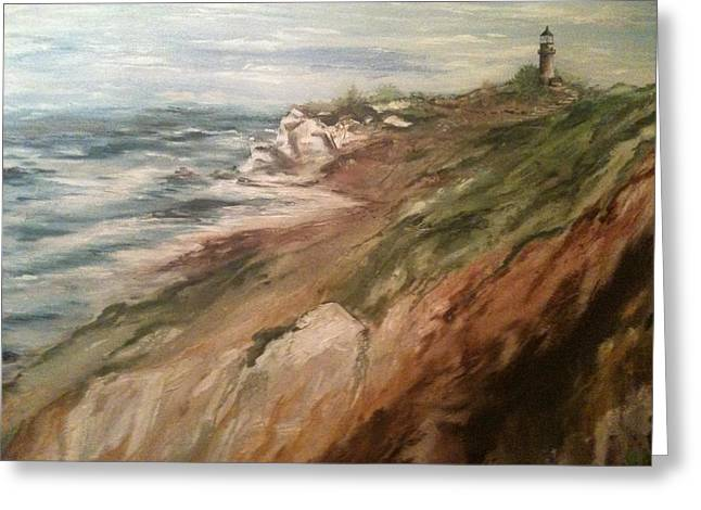 Greeting Card featuring the painting Cliff Side - Newport by Karen  Ferrand Carroll