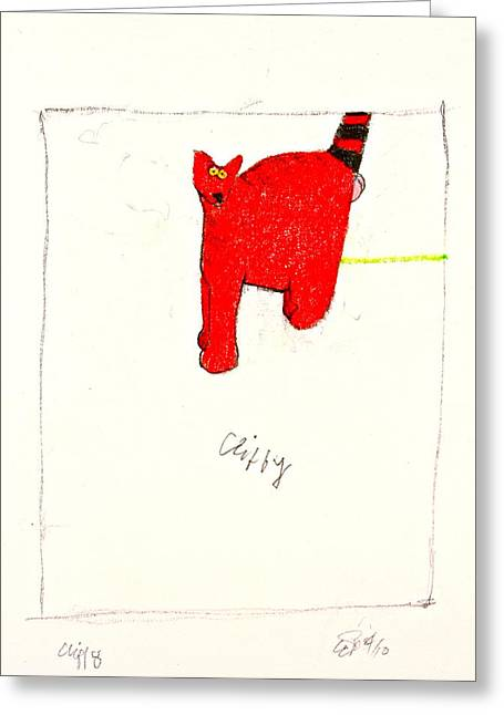 Clifford The Dog Its Not But Cliffy The Cat It Is Greeting Card by Cliff Spohn