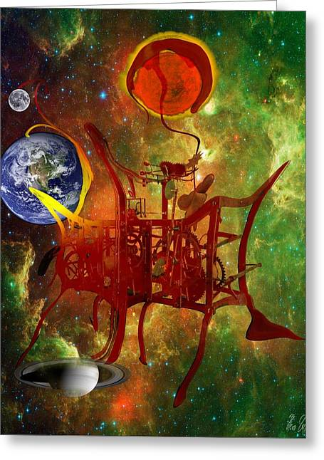 Clock Of Universe Greeting Card by Helmut Rottler