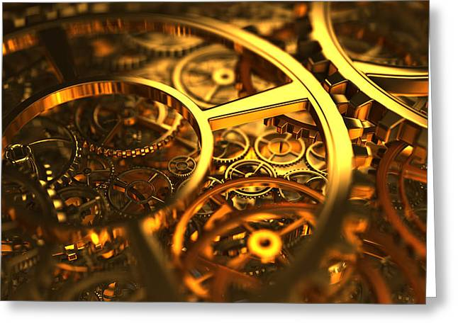 Clockworks And Gears Greeting Card by Rimantas Vaiciulis