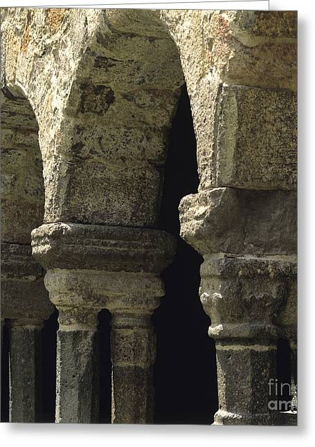 Cloister Of Lavaudieu. Haute Loire. Auvergne. France. Greeting Card by Bernard Jaubert