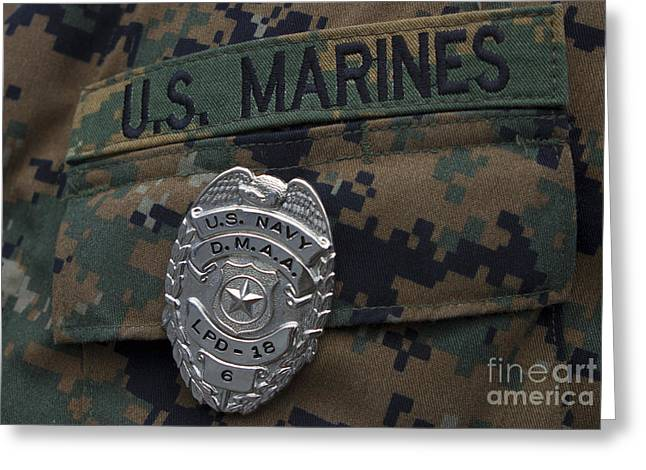 Close-up Of A Duty Master-at-arms Badge Greeting Card by Stocktrek Images