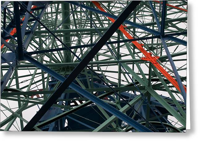 Close-up Of Ferris Wheel Mechanism Greeting Card by Todd Gipstein