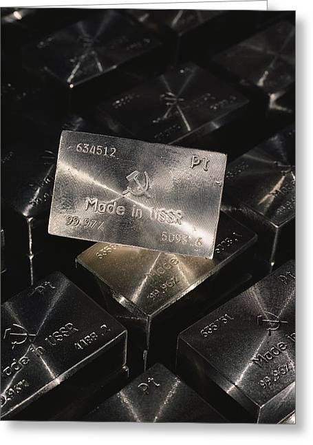 Close-up Of Platium Ingots Bearing Greeting Card