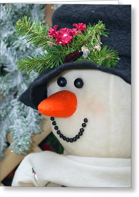 Close-up Of Snowman Greeting Card by Carson Ganci