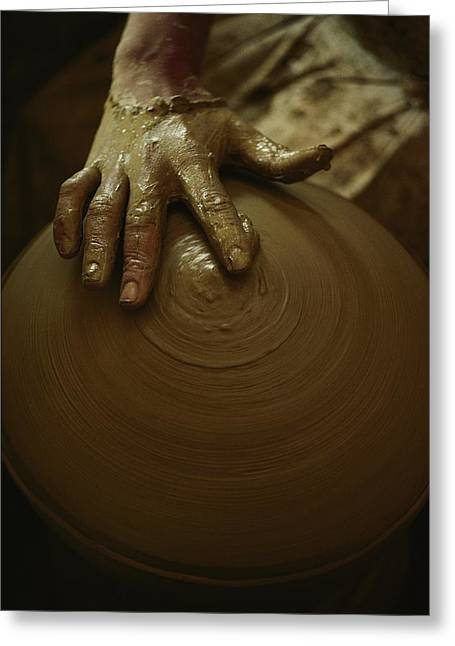 Close-up Of The Brown Muddy Hand Greeting Card