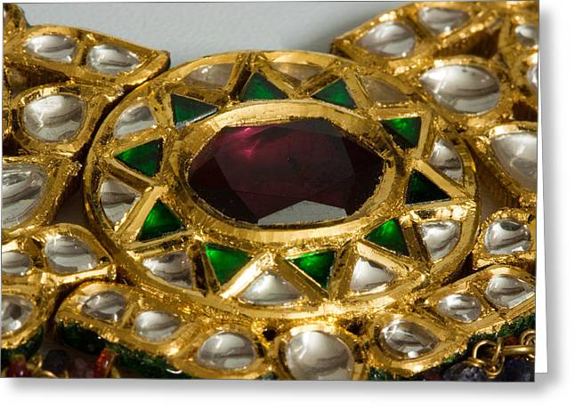 Close Up Of The Middle Pendant Section Of A Green And White Stone Inlaid Necklace Greeting Card by Ashish Agarwal