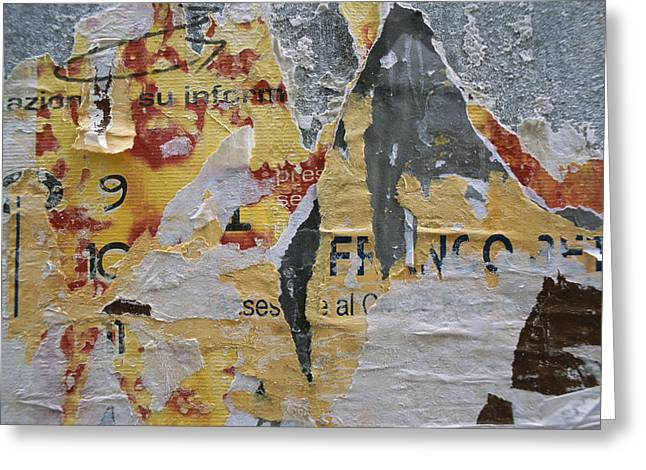 Close-up Of Torn Posters On A Wall Greeting Card by Todd Gipstein