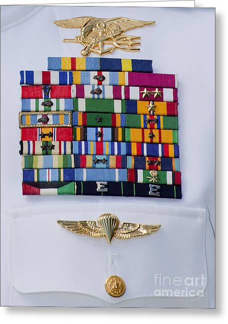 Close-up View Of Military Decorations Greeting Card by Michael Wood