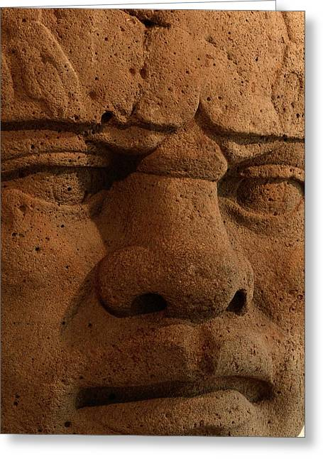 Close View Of A Colossal Stone Head Greeting Card by Kenneth Garrett