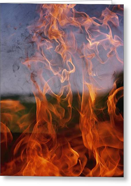 Close View Of Fire Greeting Card by Brian Gordon Green