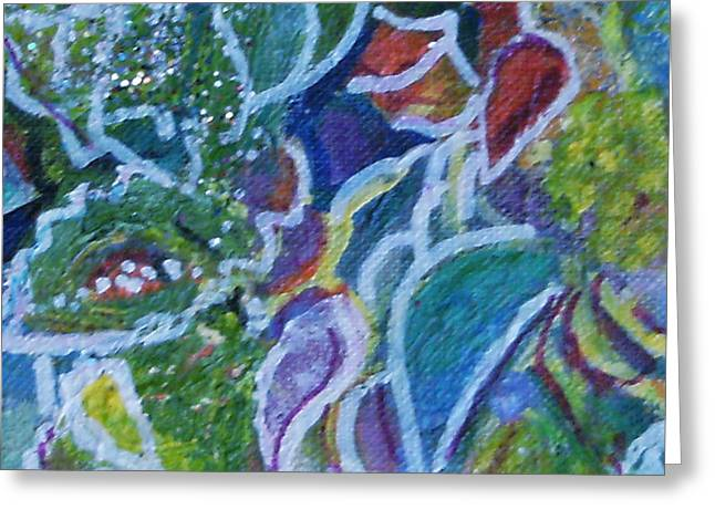 Close View Of One Of My Floral Paintings Greeting Card by Anne-Elizabeth Whiteway