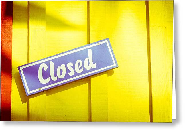 Closed Sign Greeting Card by Tom Gowanlock